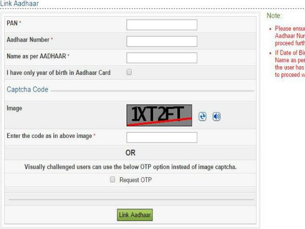aadhaar pan linking process